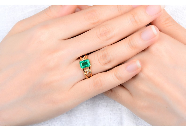 2 25 Carat Emerald and Diamond Halo Engagement Ring on 10k Yellow
