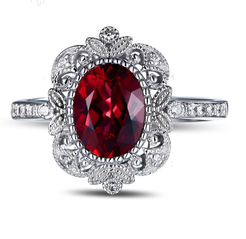 ... Vintage 1.50 Carat Ruby and Diamond Engagement Ring in White Gold for  Women ...