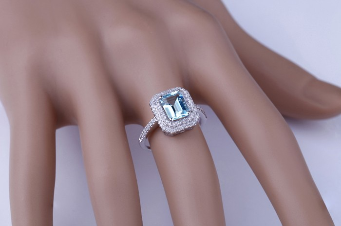 2 Carat Topaz And Diamond Double Halo Engagement Ring In White Gold