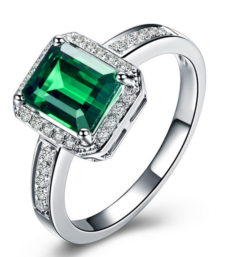 Classic 1 50 Carat Emerald and Diamond Engagement Ring in White