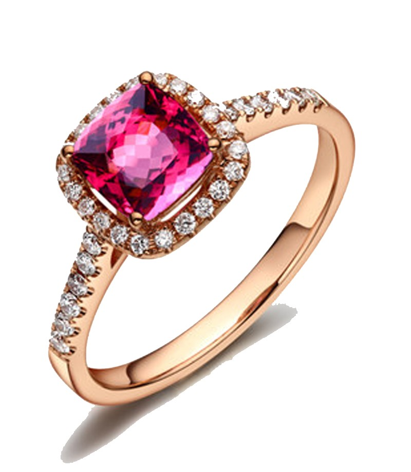 Top 1.50 Carat Cushion cut Ruby and Diamond Engagement Ring Rose Gold  TS97