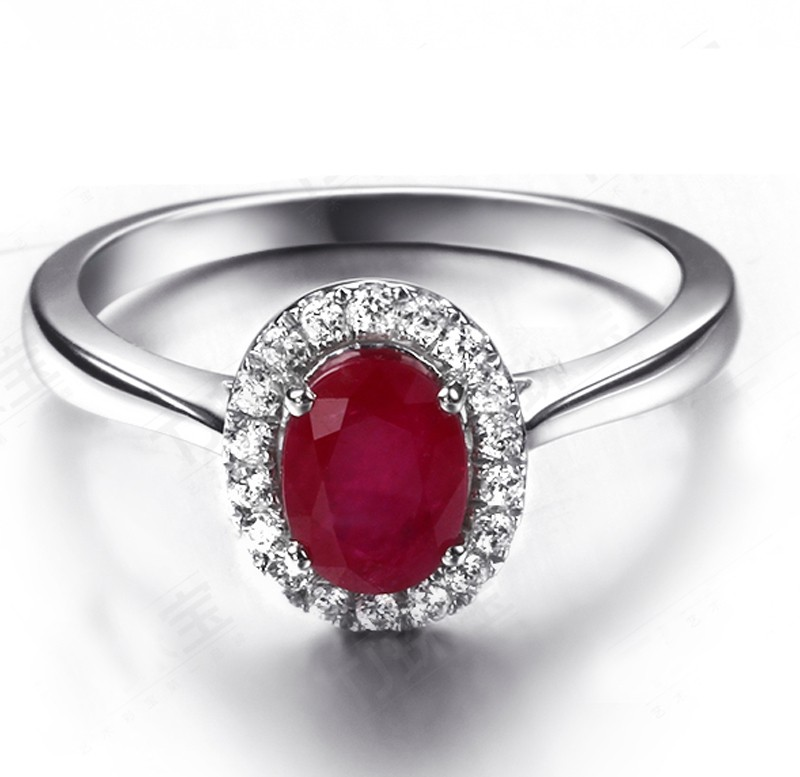 Classic 1 Carat Ruby And Diamond Halo Engagement Ring In