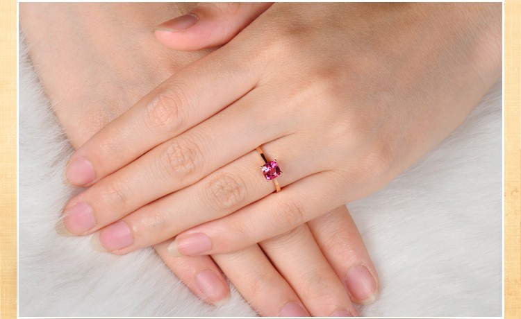 1 Carat Pink Sapphire Solitaire Gemstone Engagement Ring in Rose Gold - JeenJewels