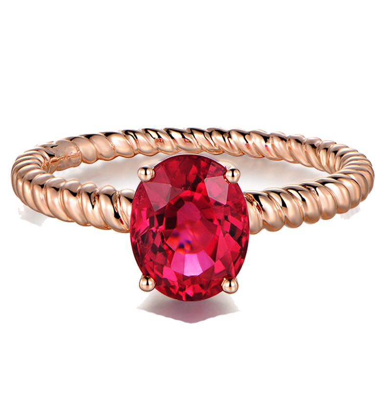 1 Carat Solitaire Ruby Antique Engagement Ring in Rose Gold - JeenJewels