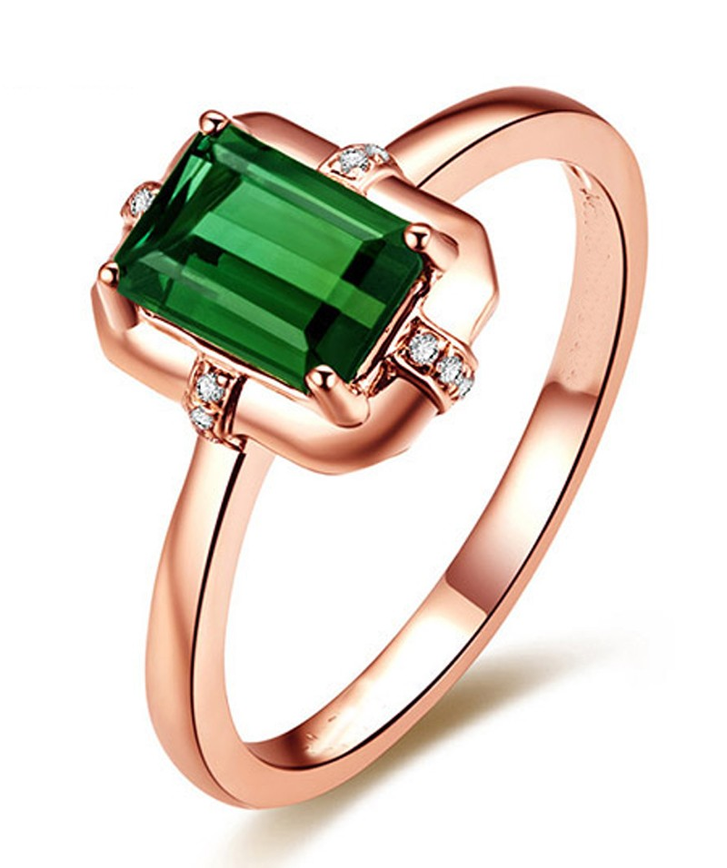 Designer 1 Carat Emerald and Diamond Engagement Ring in Rose Gold