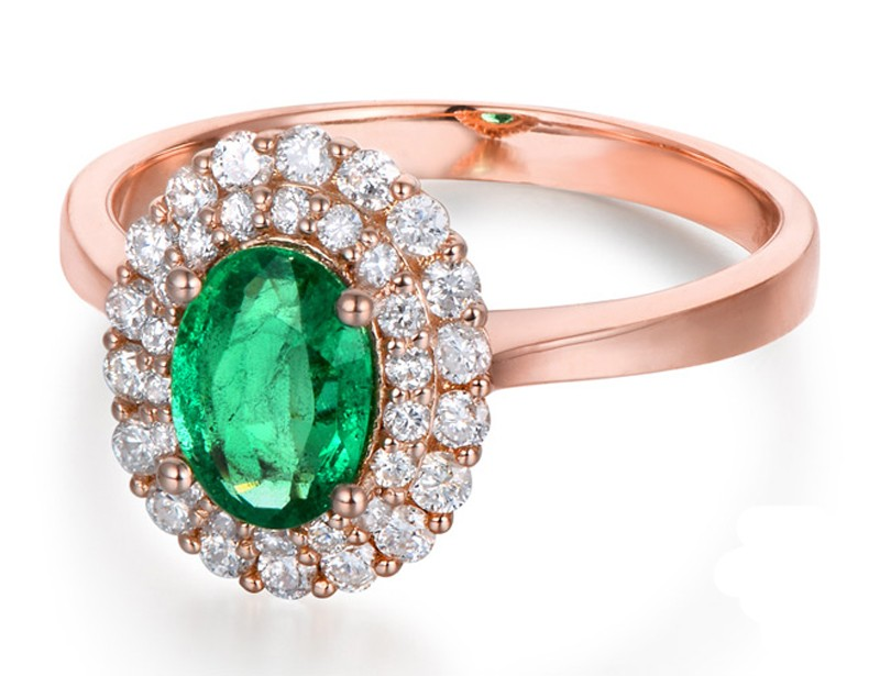 2 Carat Double Halo Emerald and Diamond Engagement Ring in Rose