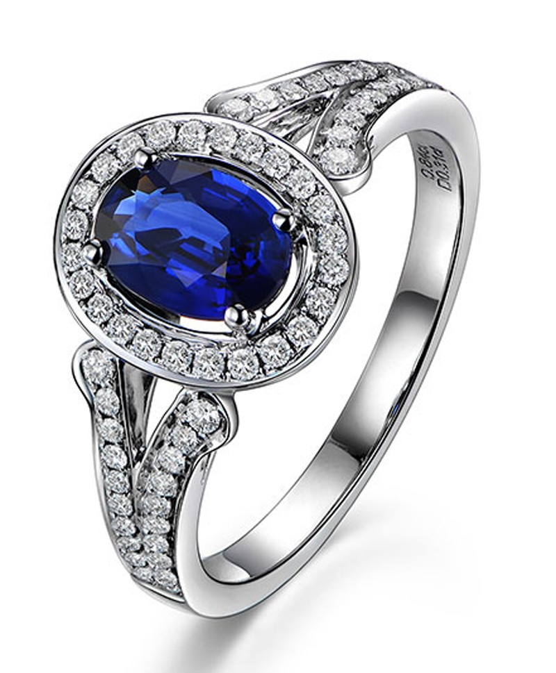 Vintage 2 Carat Blue Shire And Diamond Halo Engagement Ring For Women