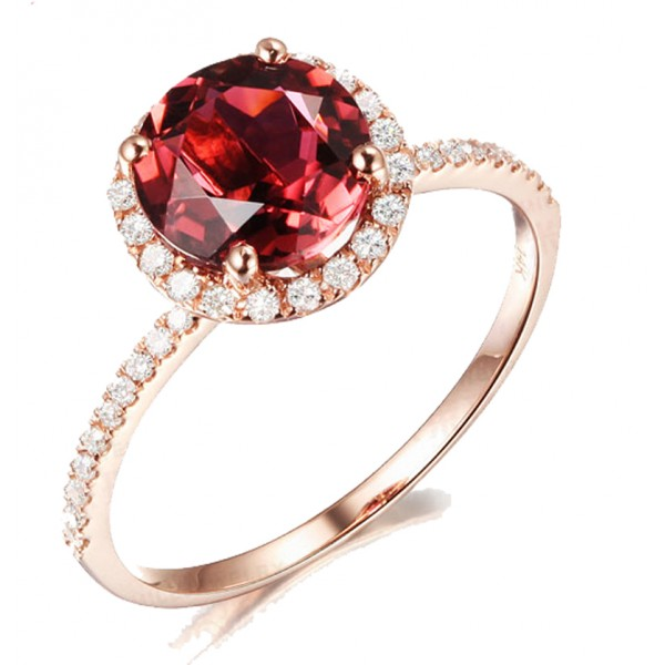 Excellent 1.50 Carat Round Ruby and Diamond Halo Engagemnet Ring for Women  GS08