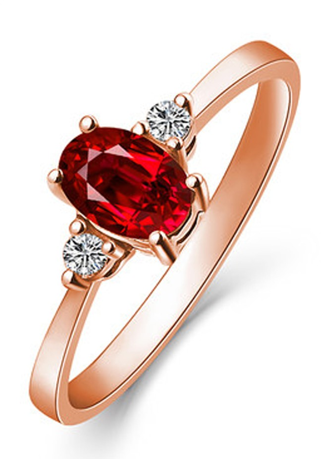 1 Carat Trilogy Ruby And Diamond Engagement Ring In Rose