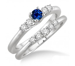 1.25 Carat Sapphire and Diamond Inexpensive Bridal Set  on 10k White Gold