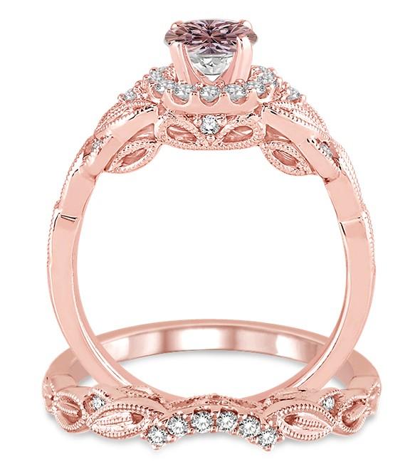 1 25 Carat Morganite Diamond Vintage Fl Bridal Set Engagement Ring On 10k Rose Gold