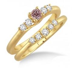 1.25 Carat Morganite & Diamond Affordable Bridal Set on 10k Yellow Gold