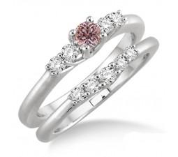 1.25 Carat Morganite & Diamond Inexpensive Bridal Set on 10k White Gold