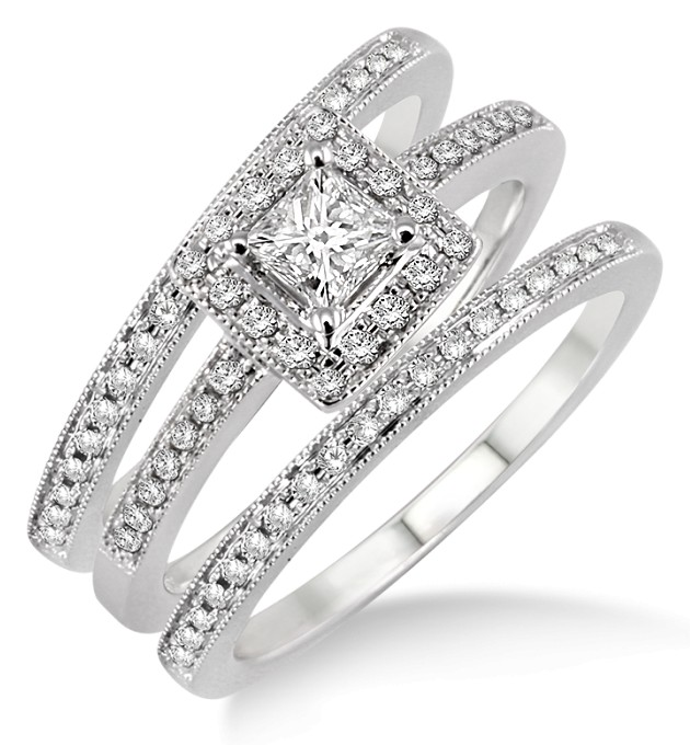 2 00 Carat Antique Trio Set Halo Ring With Princess Cut Diamond In 10k White Gold
