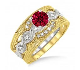 1 25 Carat Ruby Diamond Vintage Trio Bridal Set Engagement Ring On 10k White Gold