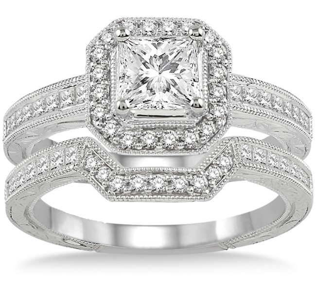 2 00 Carat Antique Halo Bridal Set With Princess Cut Diamond In 10k Rose Gold