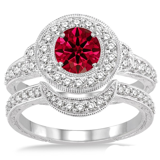 1 5 Carat Ruby Diamond Antique Halo Bridal Set Engagement Ring On 10k White Gold