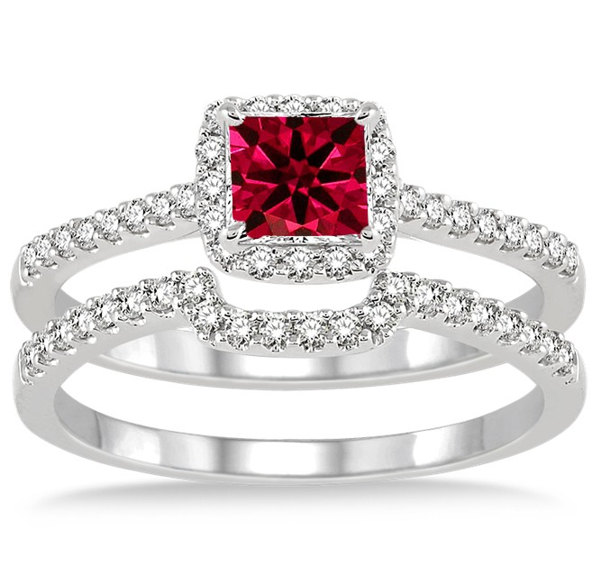 1 5 Carat Ruby Diamond Halo Bridal Set On 10k White Gold