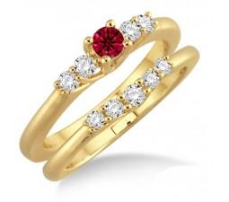1.25 Carat Ruby & Diamond Affordable Bridal Set  on 10k Yellow Gold