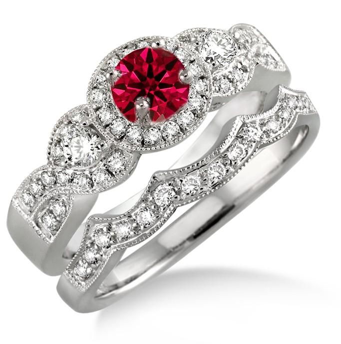 1 5 Carat Ruby Diamond Halo Bridal Set On 10k White Gold