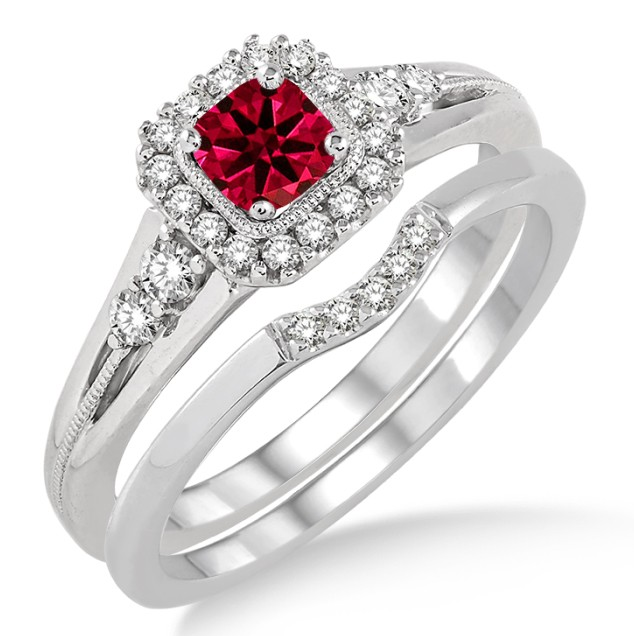 1 5 Carat Ruby Diamond Bridal Set Halo Engagement Ring On 10k White Gold