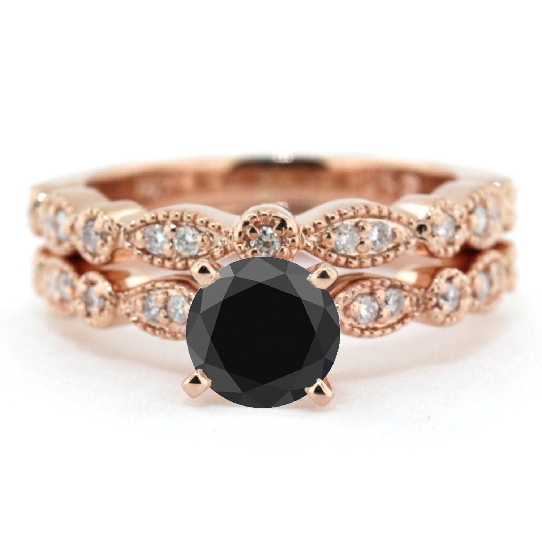 2 00 carat Round Cut Black Diamond & White Diamond Halo Bridal Set