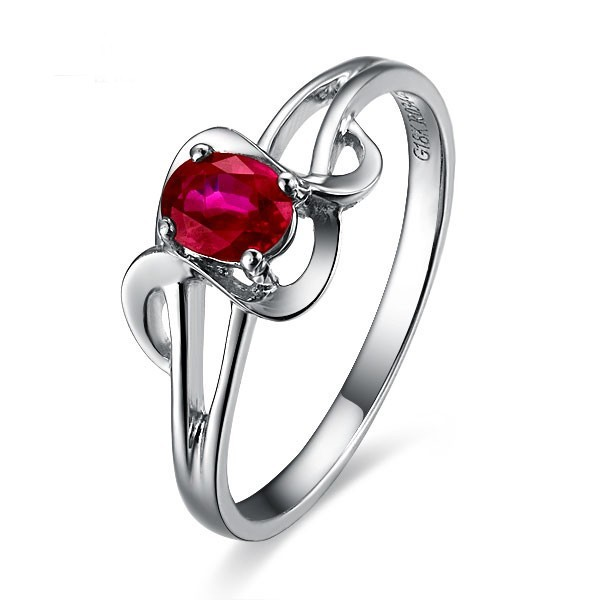 Ruby Solitaire Engagement Ring On 10k White Gold Jeenjewels