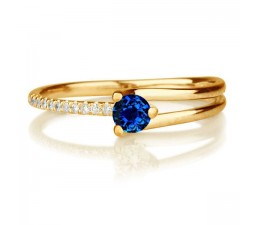 1.25 carat Round Cut Sapphire and Diamond Engagement Ring in 10k Yellow Gold