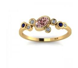 1.25 Carat Sapphire and White Diamond Gemstone Ring in 10k Yellow Gold