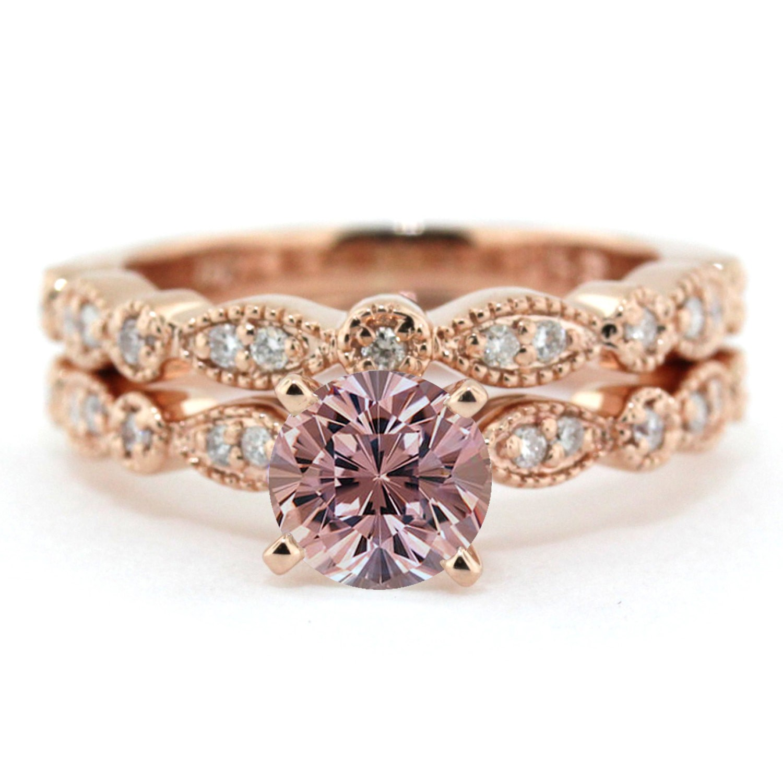 2 00 Carat Round Cut Morganite And Diamond Halo Bridal Set In 10k Rose Gold