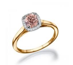 1.25 carat Round Cut Morganite and Diamond Halo Bridal Set in 10k White Gold