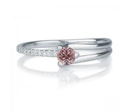 1.25 carat Round Cut Morganite and Diamond Engagement Ring in 10k White Gold