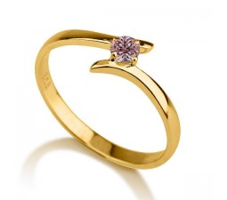 .50 carat Round Cut Morganite  Solitaire Engagement Ring in 10k Yellow Gold