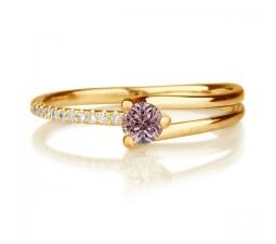 1.25 carat Round Cut Morganite and Diamond Engagement Ring in 10k Yellow Gold