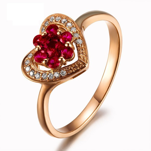 Heart Shape Ruby And Diamond Engagement Ring On 18k Yellow