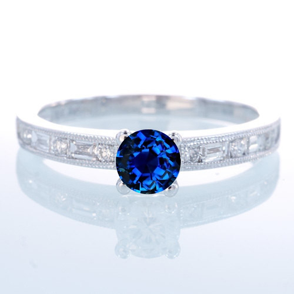Greatest 1.5 Carat Round cut Vintage Sapphire and Diamond Engagement Ring  DV39