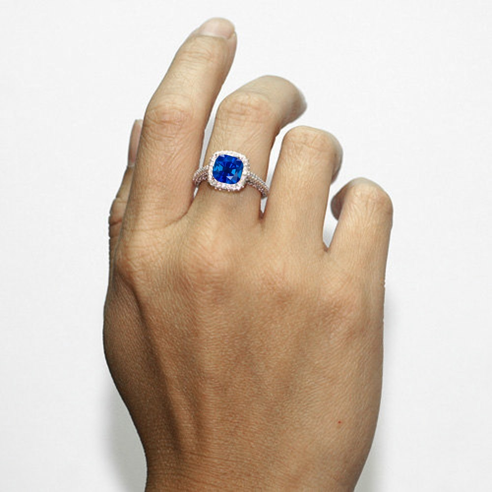 1 5 Carat Cushion Cut Designer Sapphire And Diamond Halo Engagement