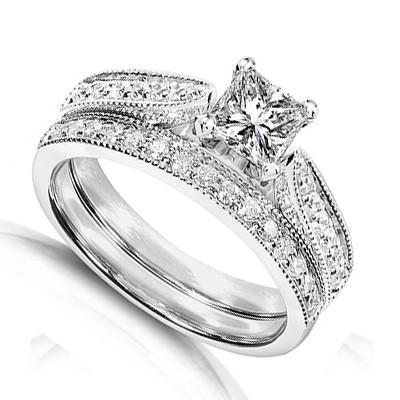 Inexpensive Antique Diamond Wedding Ring Set On 10k White Gold