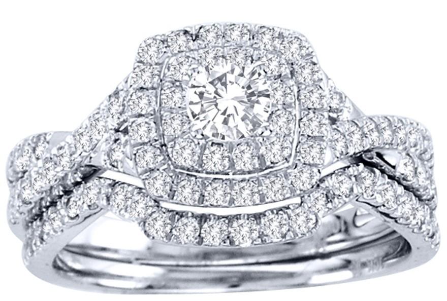 Huge 2 Carat Round Diamond Halo Bridal Ring Set In White Gold