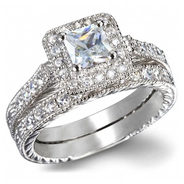 GIA Certified 1 Carat Princess cut Diamond Vintage Wedding Ring