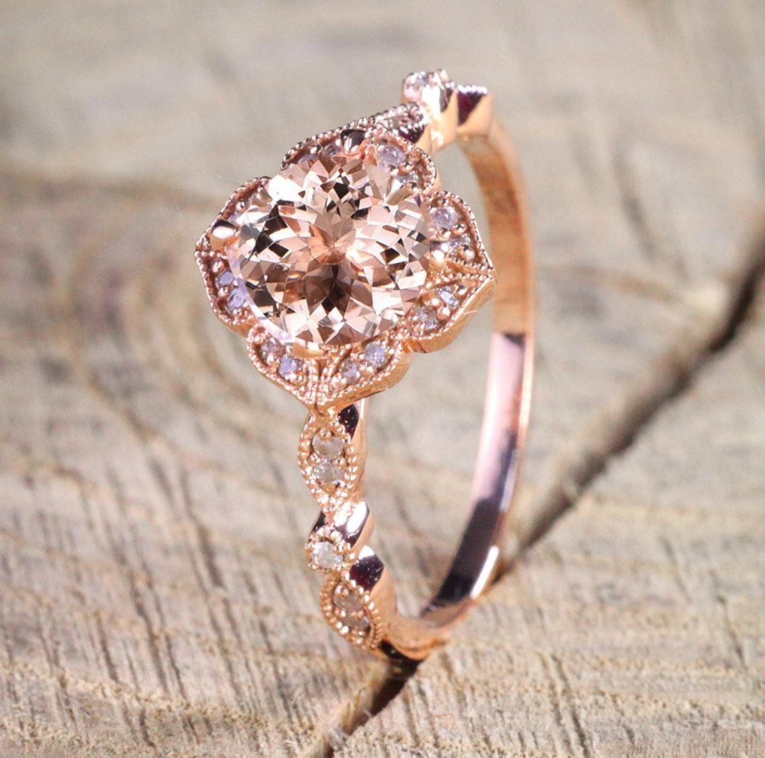 Engagement Rings Sale Rose Gold: Sale Antique Design 1.25 Carat Peach Pink Morganite (Round