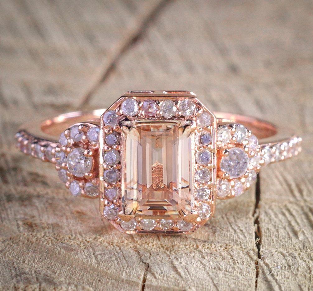 1 25 Carat Peach Pink Morganite Emerald Cut And Diamond Engagement Ring In 10k Rose Gold