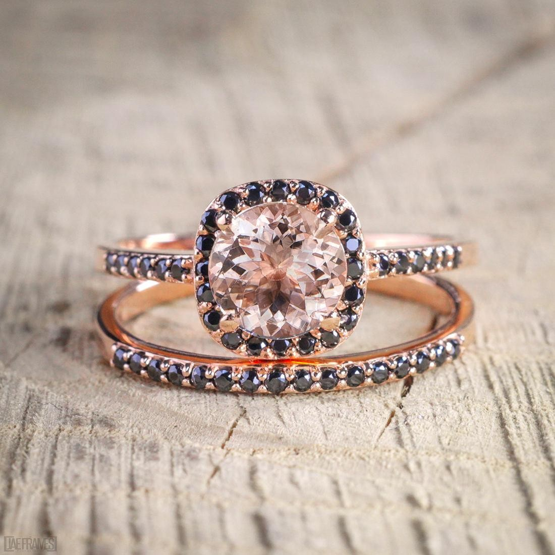 Limited Time 2 Carat Peach Pink Morganite Round Cut And Black Diamond Engagement Bridal Wedding Ring Set In 10k Rose Gold