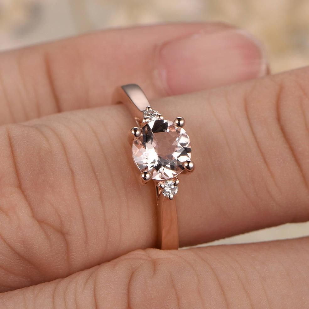 Very Limited Time Sale Trilogy Three Stone 1.10 carat Morganite and  UM04
