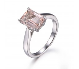 Bestselling Morganite Engagement Ring on Sale: 1 Carat Morganite Solitaire Engagement Ring in 10k White Gold
