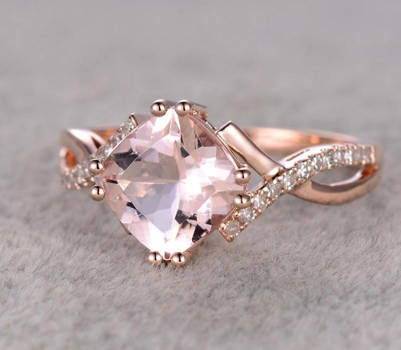 Limited Time Sale 1 25 carat cushion cut Morganite and Diamond