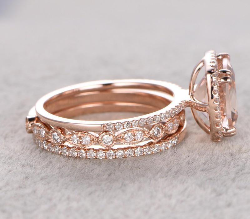 Engagement Rings Sale Rose Gold: Limited Time Sale 2 Carat Morganite Diamond Trio Wedding