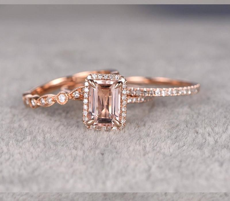 Morganite Limited Time 2 Carat And Diamond Trio Ring Set In 10k Rose Gold