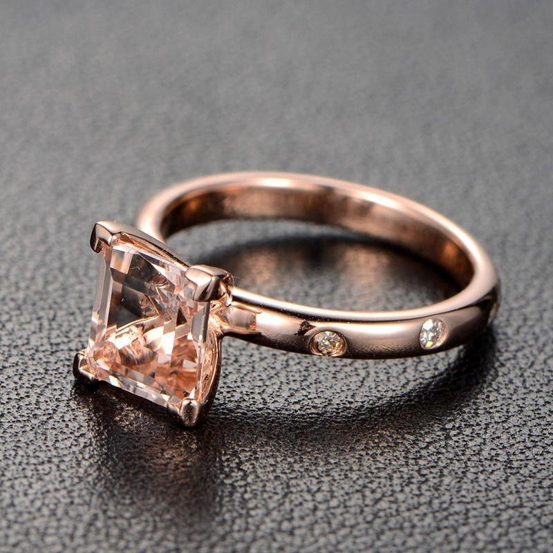 Engagement Rings Sale Rose Gold: Limited Time Sale: 1.10 Carat Peach Pink Morganite