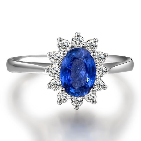 Exquisite Sapphire And Diamond Engagement Ring On 18k White Gold
